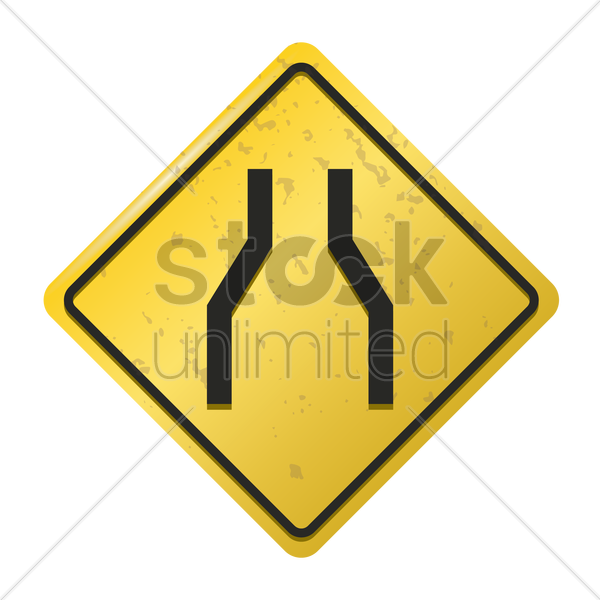road narrows on both sides sign vector graphic