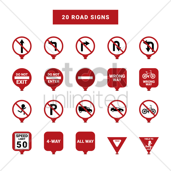 road signs vector graphic