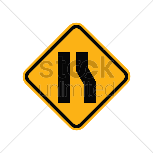 road widens sign in right vector graphic