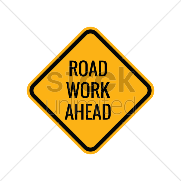 road work ahead sign vector graphic