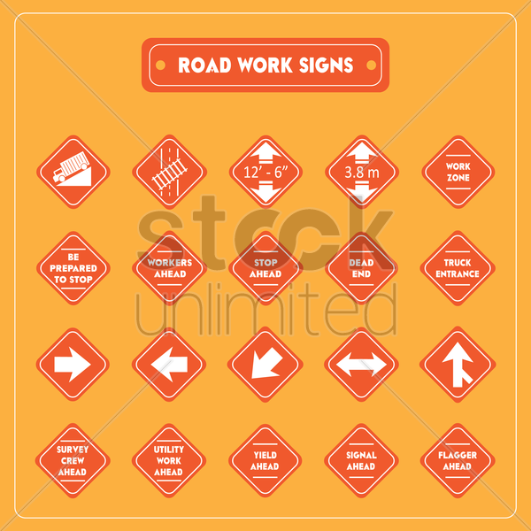 road work signs collection vector graphic