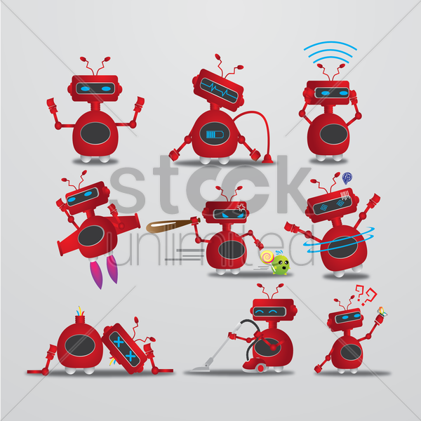 robot with different actions vector graphic