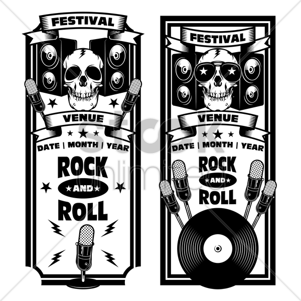 rock and roll festival banner vector graphic