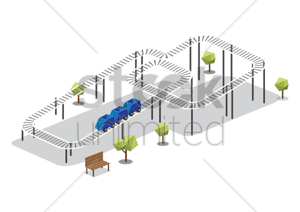 roller coaster ride vector graphic