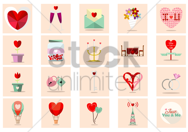 romance collection vector graphic