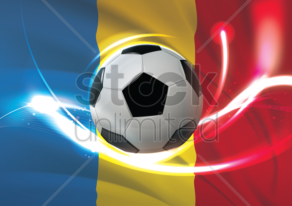 romania flag with soccer ball vector graphic