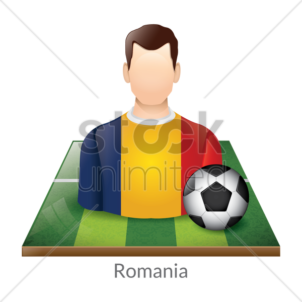 romania player with soccer ball on field vector graphic
