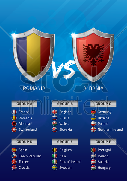 romania vs albania vector graphic