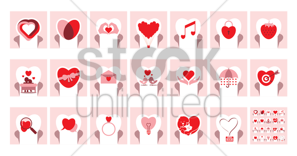 romantic heart icons vector graphic