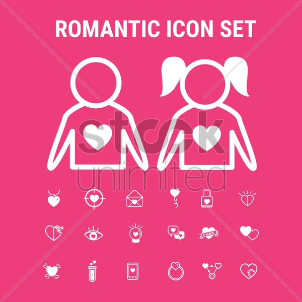 romantic icons vector graphic