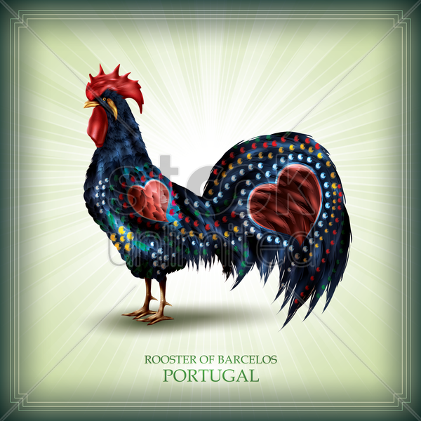 rooster of barcelos vector graphic