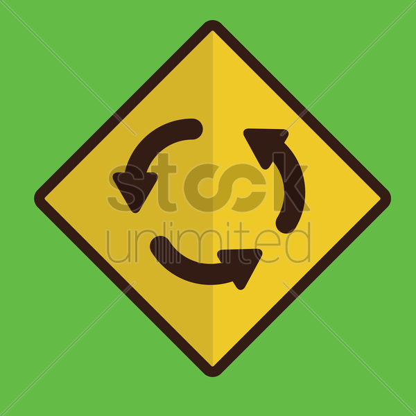 roundabout road sign vector graphic