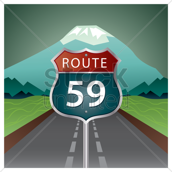 route 59 road sign vector graphic
