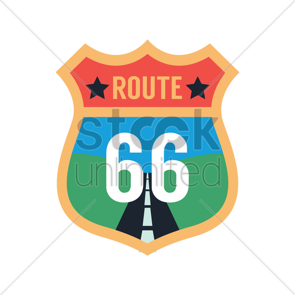 route 66 label vector graphic