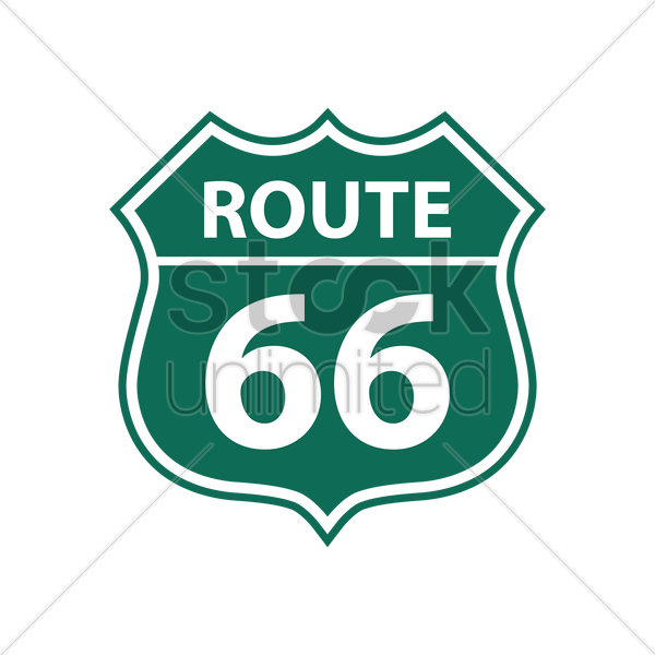 route 66 road sign vector graphic