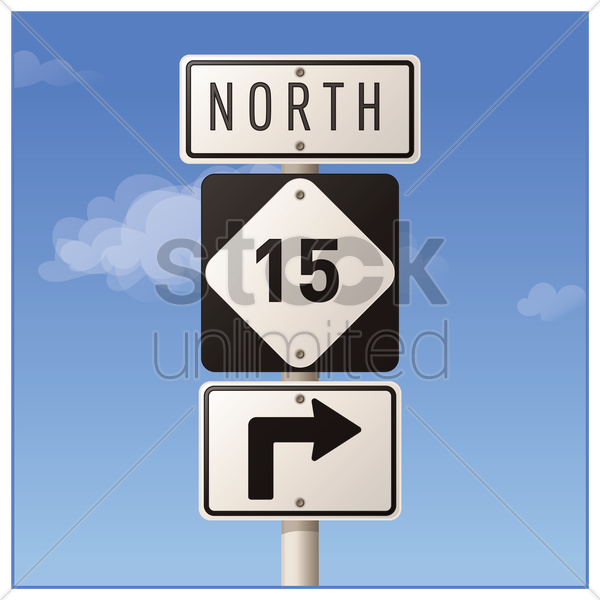 route fifteen road sign vector graphic