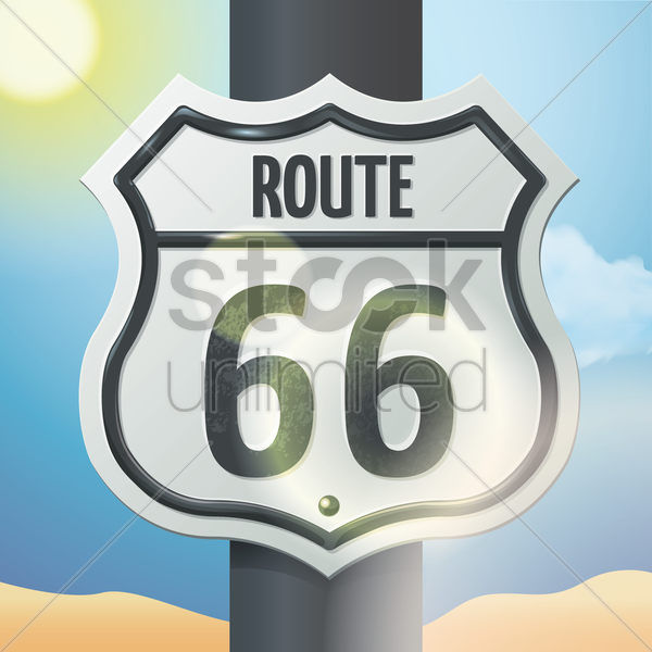 route sign 66 vector graphic