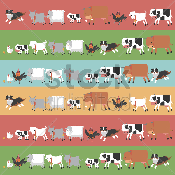 rows of farm animals vector graphic