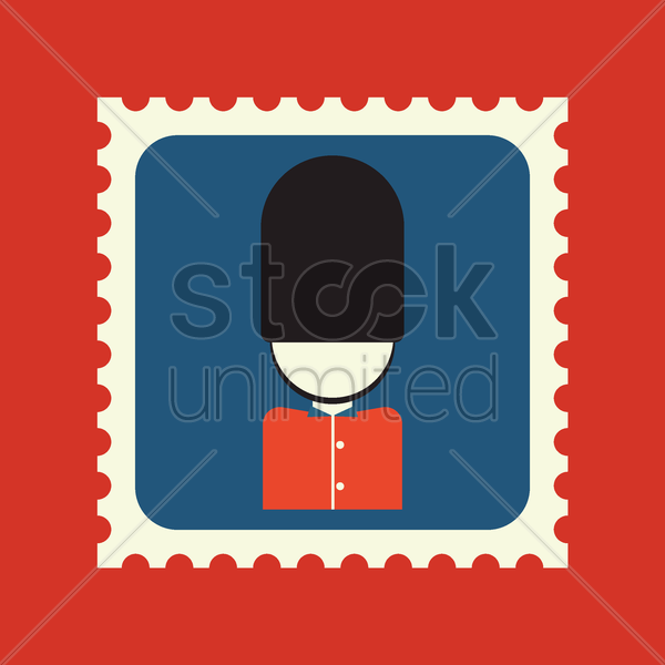 royal guard postage stamp vector graphic