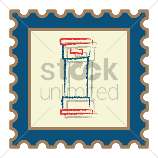 royal mail post box postage stamp vector graphic