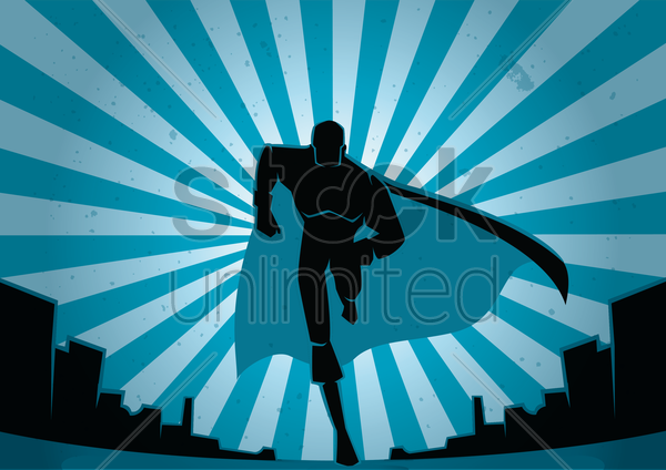 running superhero vector graphic