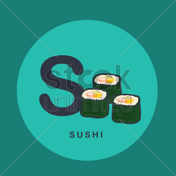 s for sushi. vector graphic