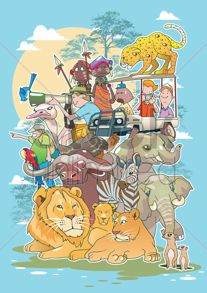 safari during the day vector graphic