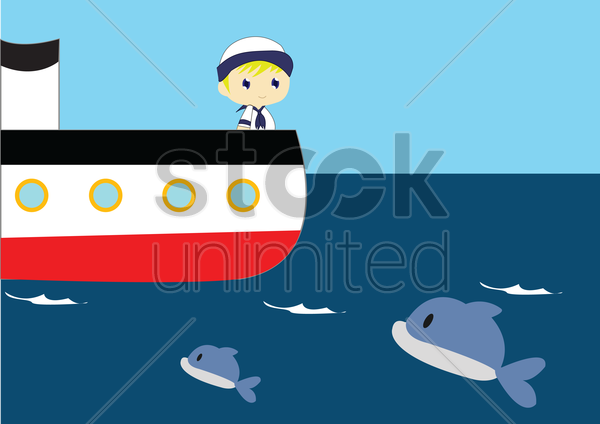sailor traveling in the sea vector graphic