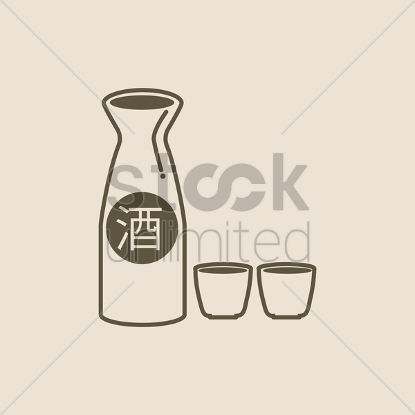 sake bottle and cups vector graphic
