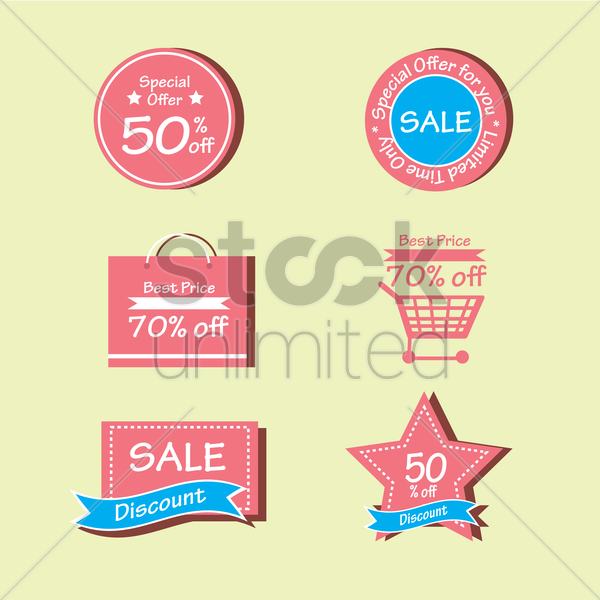 sale discount and special offer tags vector graphic