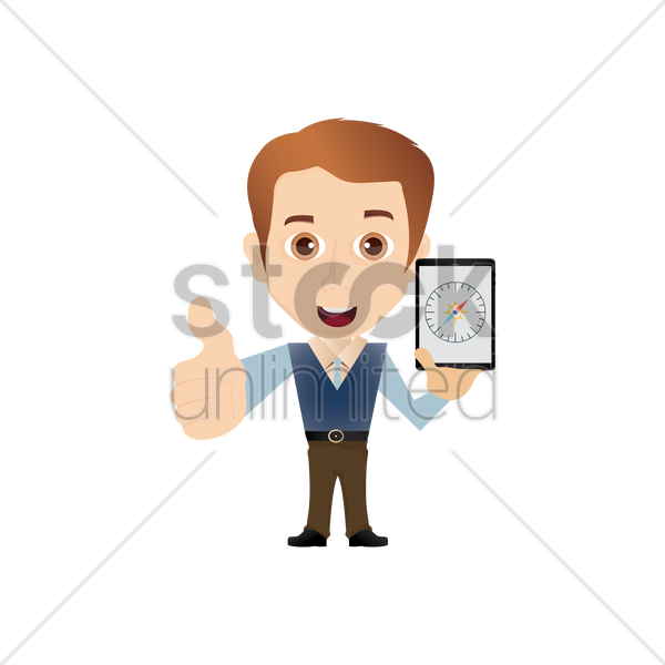 salesman holding smartphone with compass vector graphic