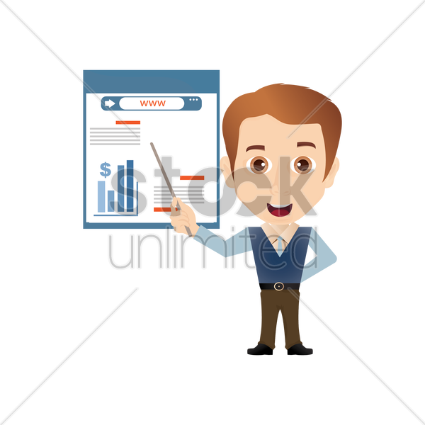 salesman with chart vector graphic
