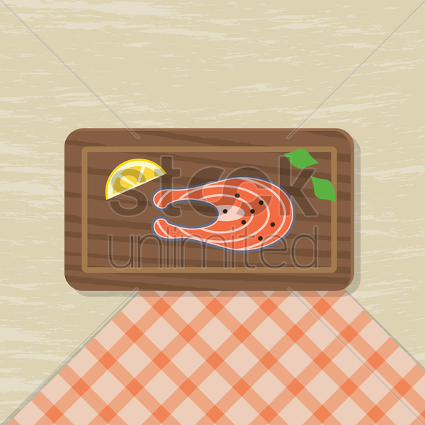 salmon fish slice with lemon vector graphic