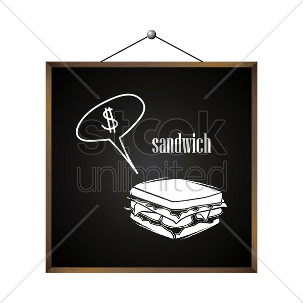 sandwich with dollar sign in speech bubble vector graphic