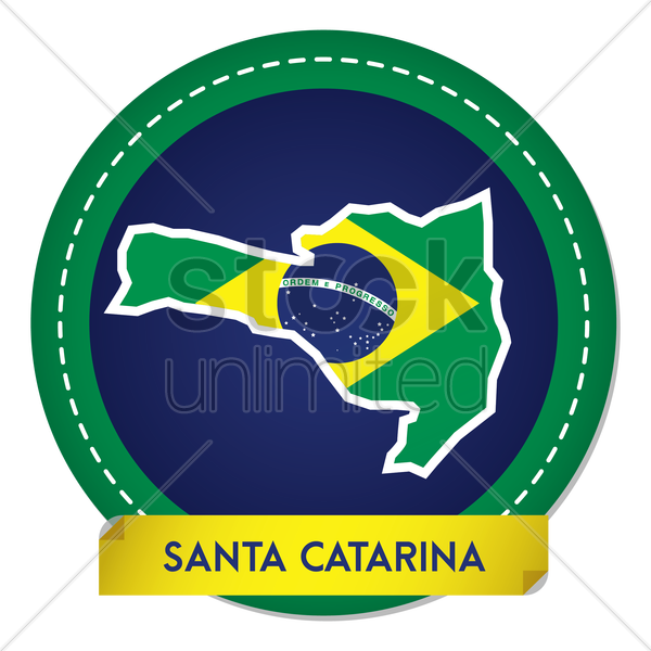 santa catarina map sticker vector graphic