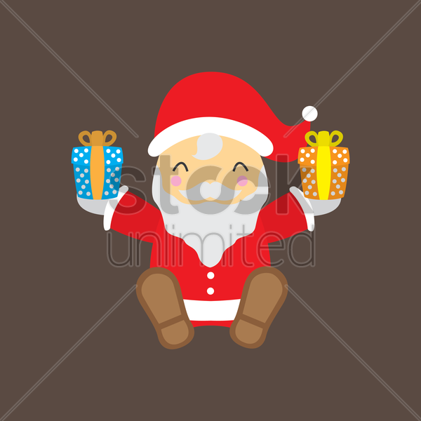 santa claus holding presents vector graphic