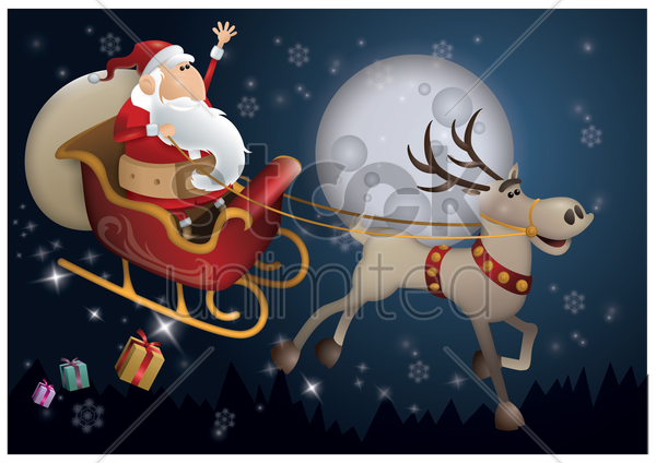 santa claus riding sleigh vector graphic