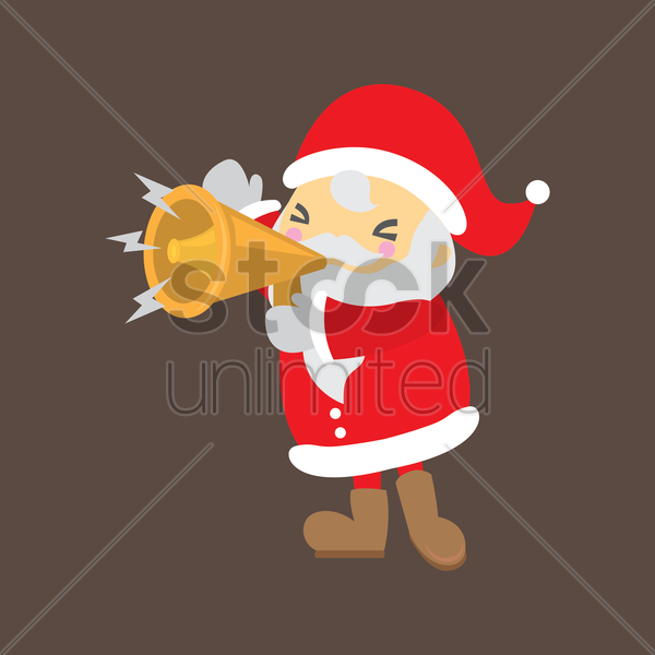 santa claus shout with megaphone vector graphic