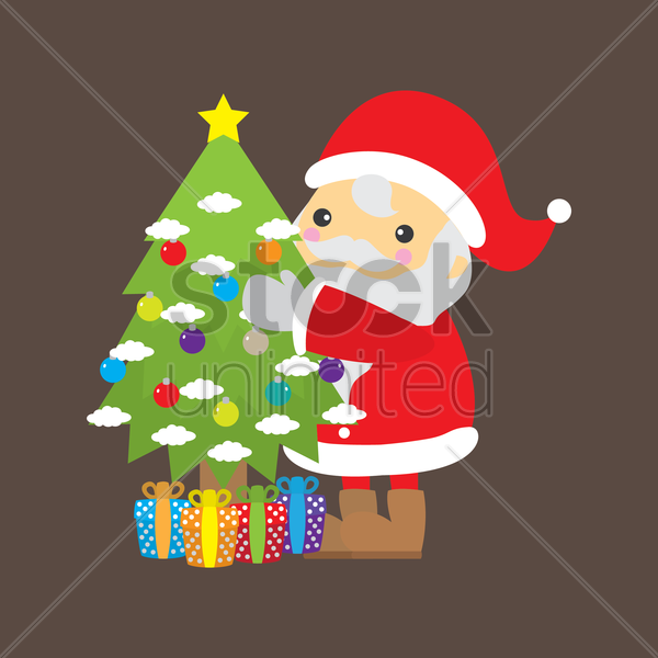 santa claus with christmas tree vector graphic