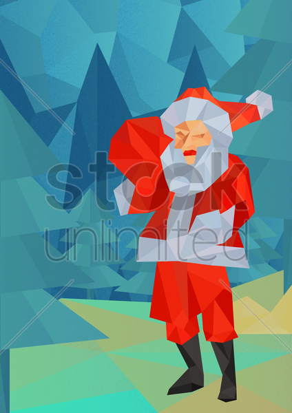 santa clause in woods vector graphic