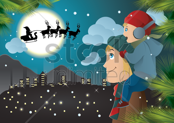 Free santa in the sky vector graphic
