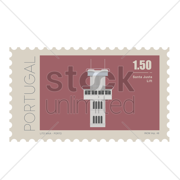 santa justa lift postage stamp vector graphic