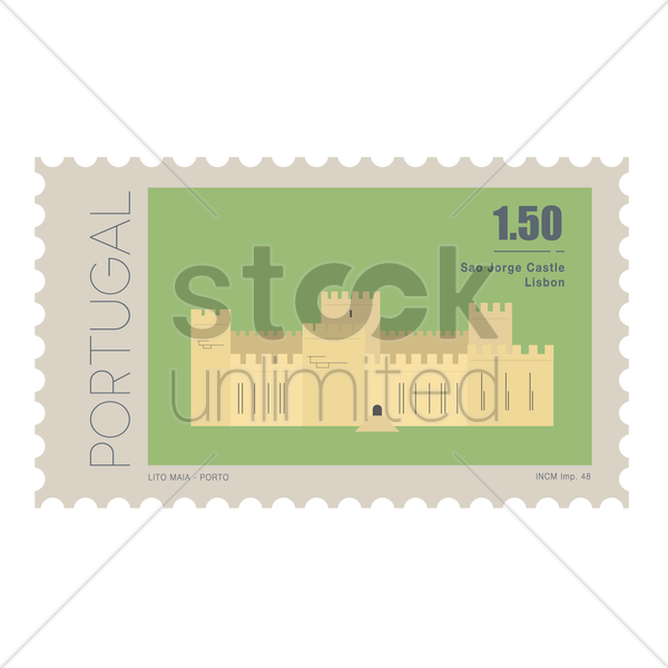 sao jorge castle postage stamp vector graphic