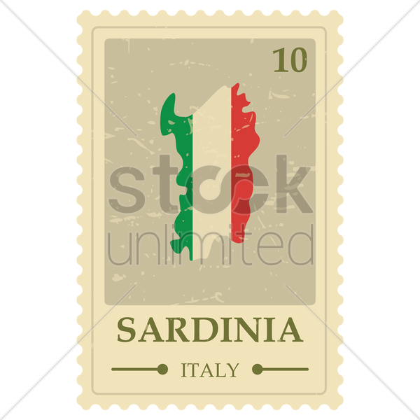 sardinia map postage stamp vector graphic