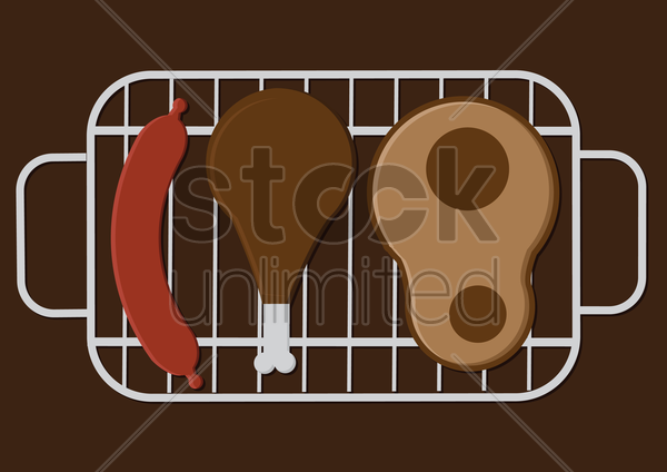 Free sausage, leg piece and ham on the mesh vector graphic