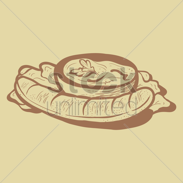 sausage with dip vector graphic