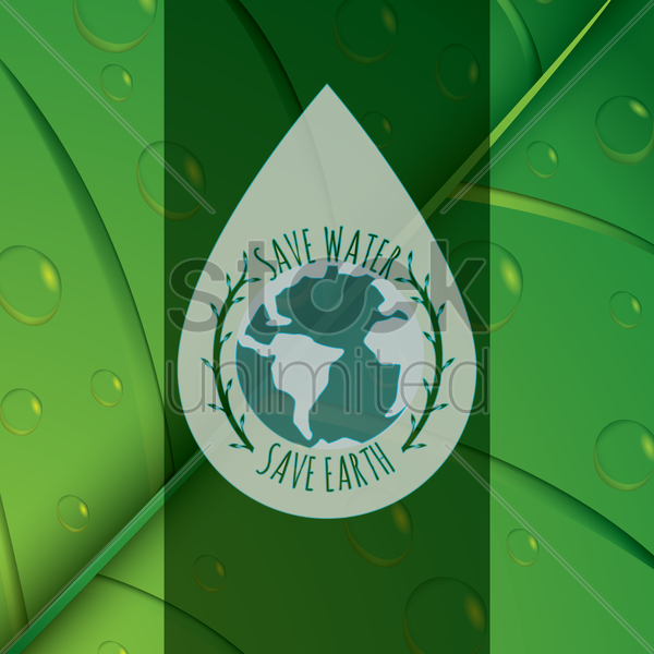 save water and save earth concept vector graphic