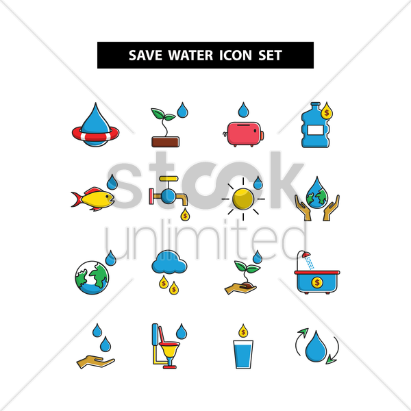 save water icon set vector graphic