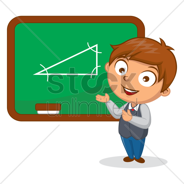Free school boy standing near chalkboard vector graphic