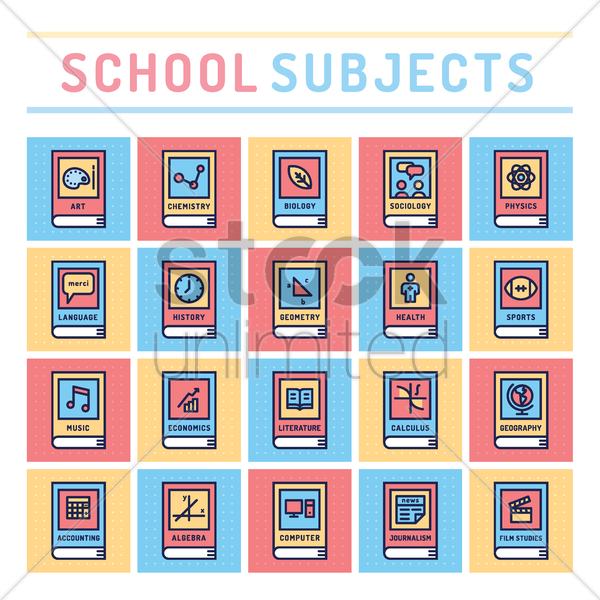 Free school subjects vector graphic